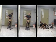 Riding a Floor Buffing Machine Goes Wrong