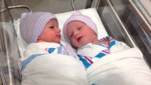 Newborn one hour old twins have first conversation