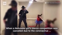 State trooper dad joins daughter in at-home dance concert